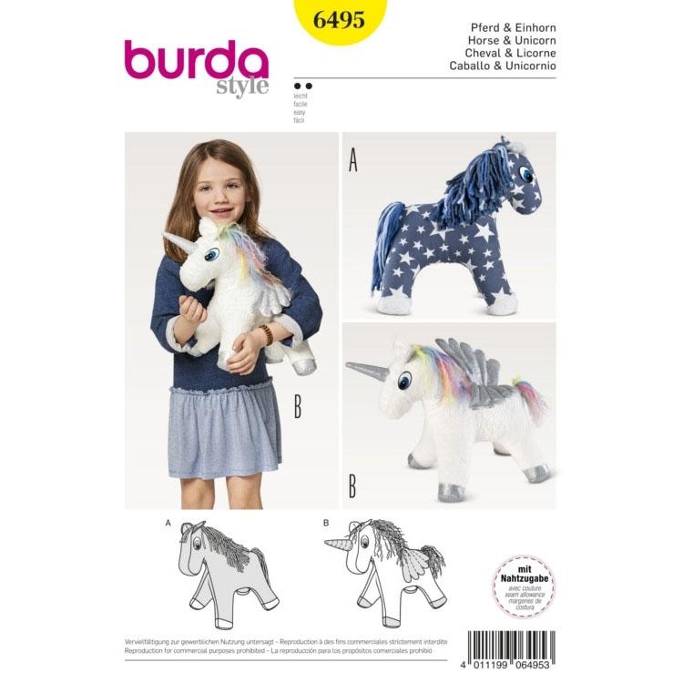 Schnittmuster Pferd und Einhorn, Burda 6495 | Stoffe Hemmers