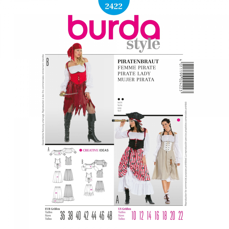 Sewing pattern Burda 2422, costume: pirate lady | Fabrics Hemmers