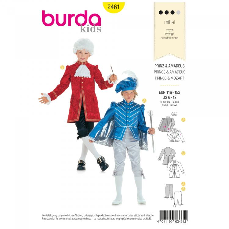 Schnittmuster Prinz und Amadeus, Burda 2461 | Stoffe Hemmers