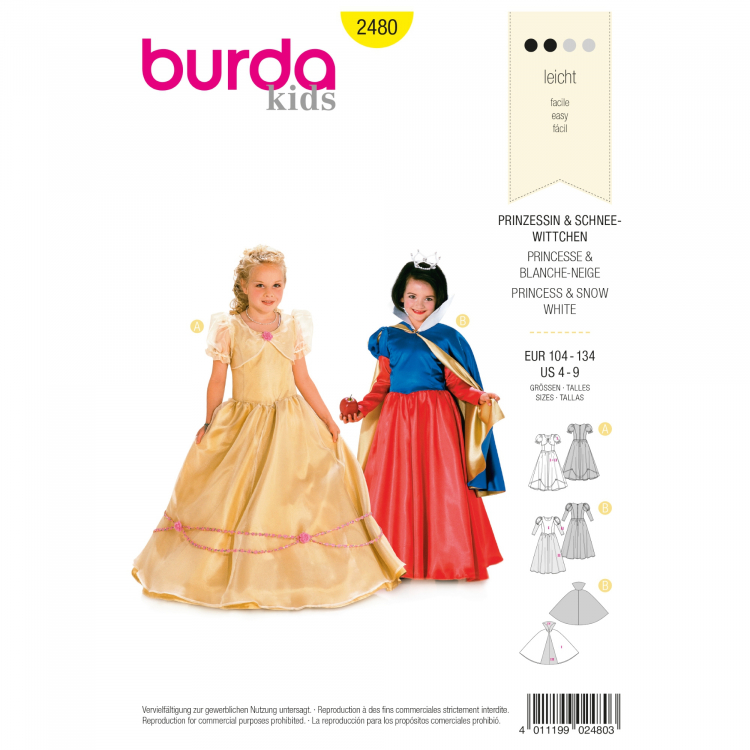 Schnittmuster Prinzessin und Schneewitchen, Burda 2480 | Stoffe Hemmers