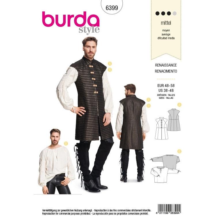 Schnittmuster Renaissance Weste und Hemd , Burda 6399 | Stoffe Hemmers