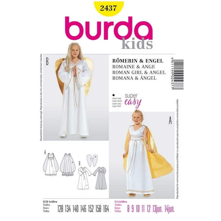 Sewing pattern Burda 2437, costume: Roman woman & angel | Fabrics ...