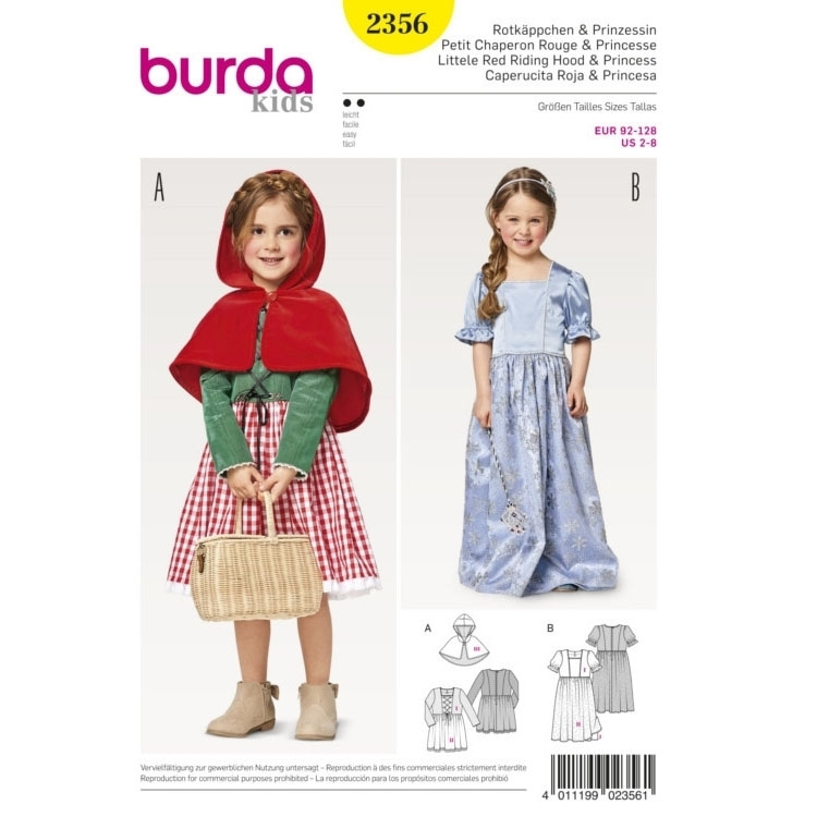 Sewing pattern Burda 2356, costume: Red riding hood and princess ...
