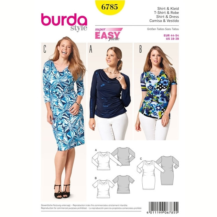 Schnittmuster Shirt & Kleid, Burda 6785 | Stoffe Hemmers