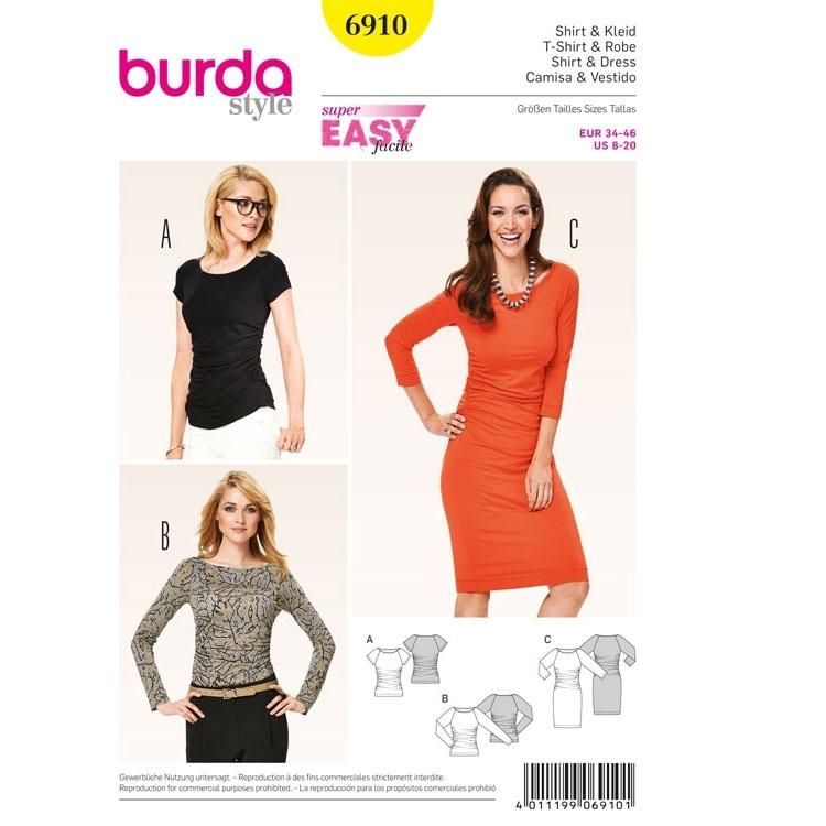 Schnittmuster Shirt, Kleid mit Raglanärmeln, Burda 6910 | Stoffe Hemmers