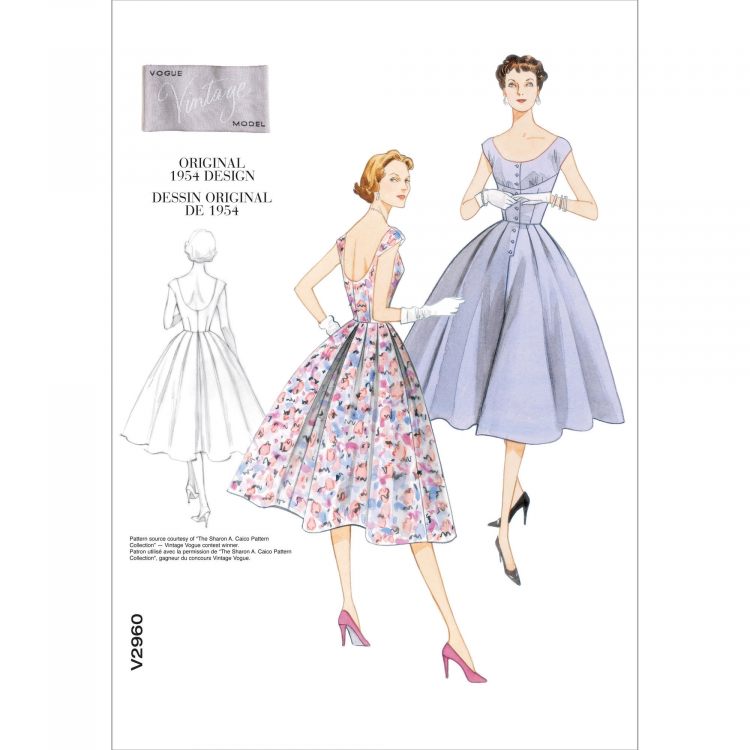 Schnittmuster Vogue 2960 Vintage Kleid | Stoffe Hemmers