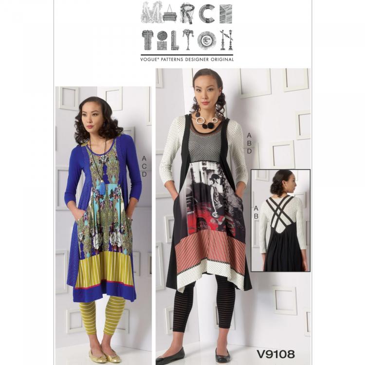 Schnittmuster Vogue 9108 Damen-Top, Kleid und Leggings | Stoffe Hemmers