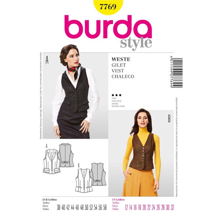 Paper Pattern Vest Burda 7769 Fabrics Hemmers