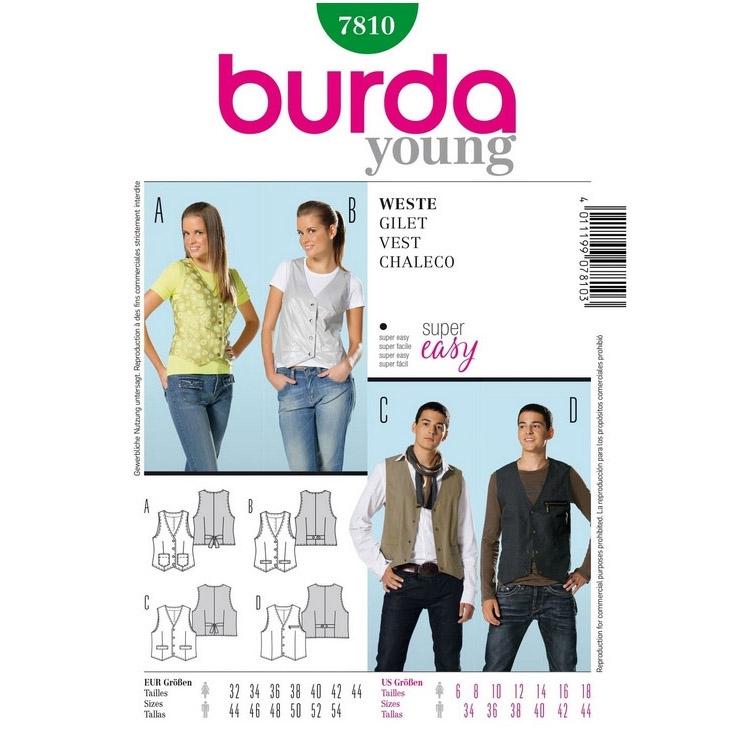 Paper Pattern Vest Burda 7810 Fabrics Hemmers
